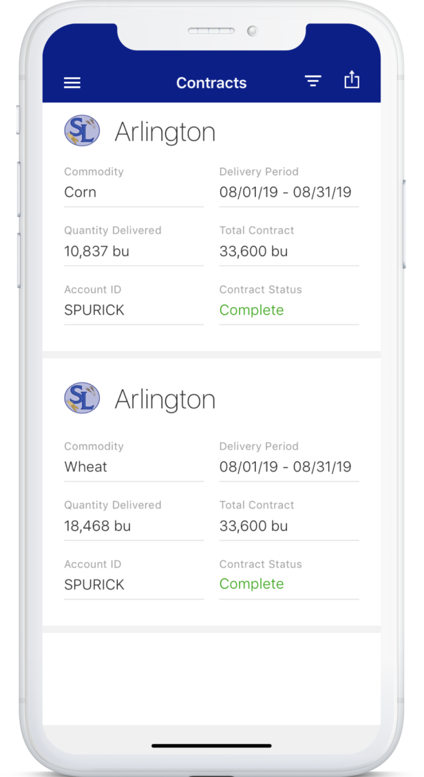 Image of phone screen displaying contracts on app
