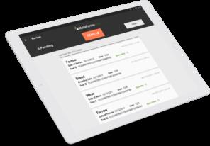 Image of iPad displaying data